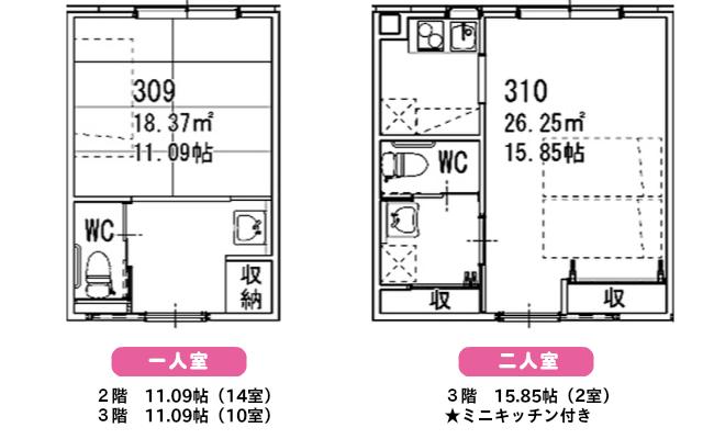 部屋パース 一人室、二人室